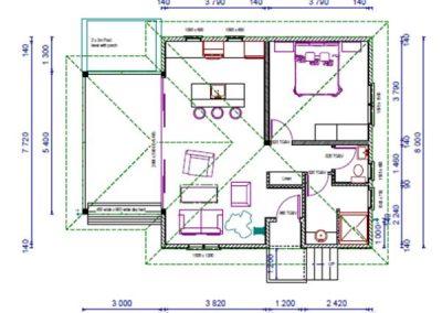 Blueprint of 1 brm vanuatu luxury villa