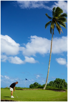 Play golf on a nice tropical weather